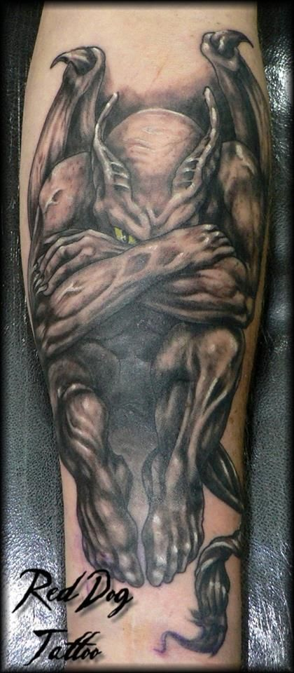 Black Ink Gargoyle Tattoo On Forearm