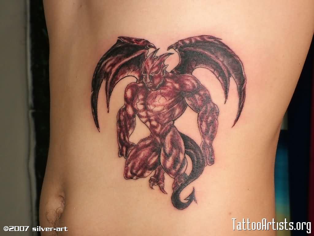 Black Ink Gargoyle Tattoo On Girl Left Side Rib