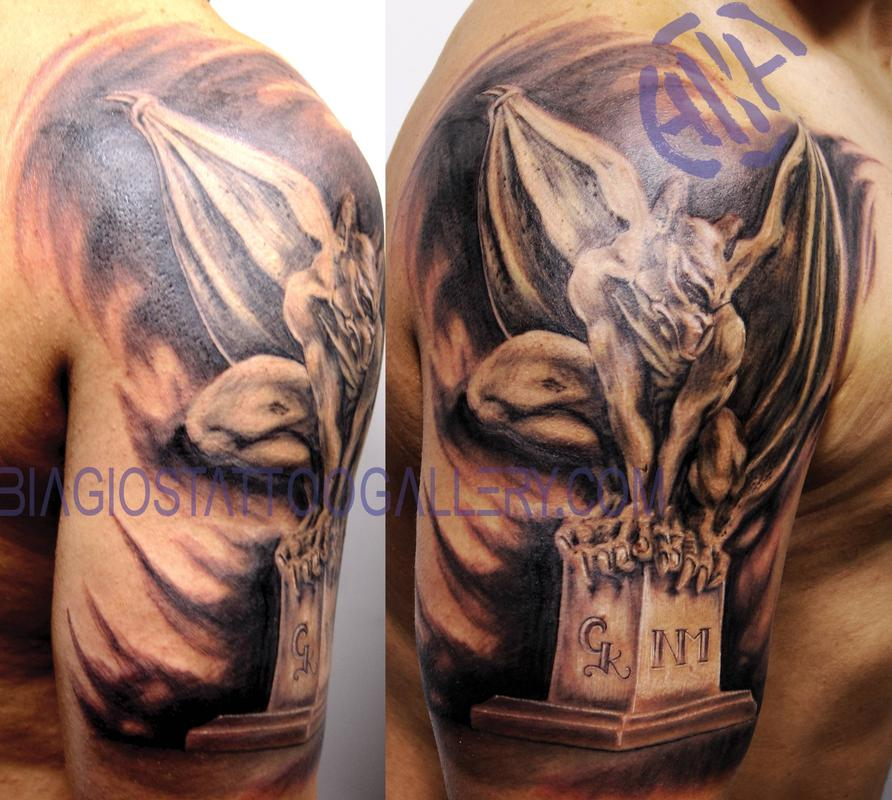 Black Ink Gargoyle Tattoo On Man Right Half Sleeve