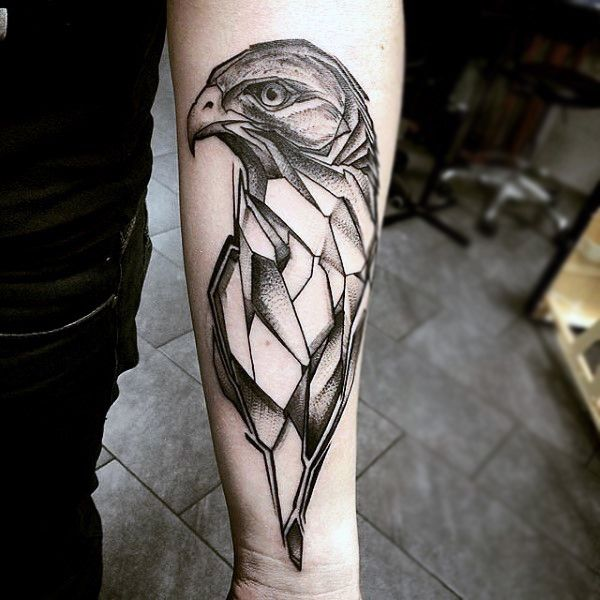Tattoo Quotes Hawk: Black Ink Geometric Flying Hawk Tattoo On Forearm