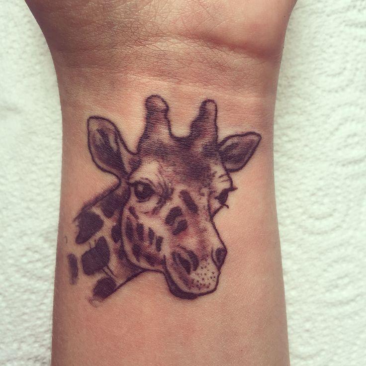 0843dba46 Black Ink Giraffe Tattoo Design For Wrist