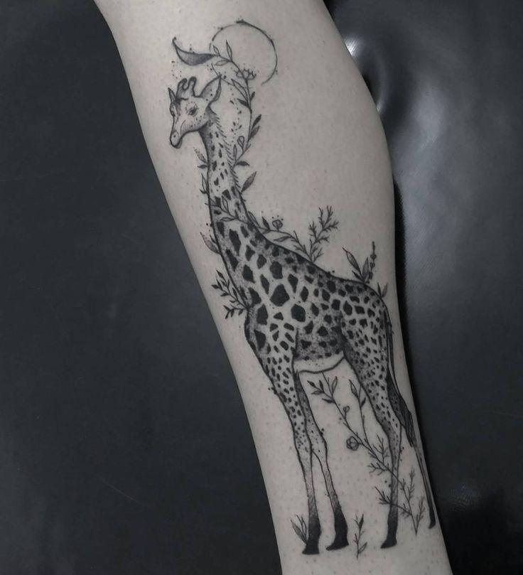 Black Ink Giraffe Tattoo On Forearm