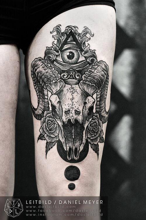 Black Ink Goat Skull With Roses Tattoo On Left Thigh