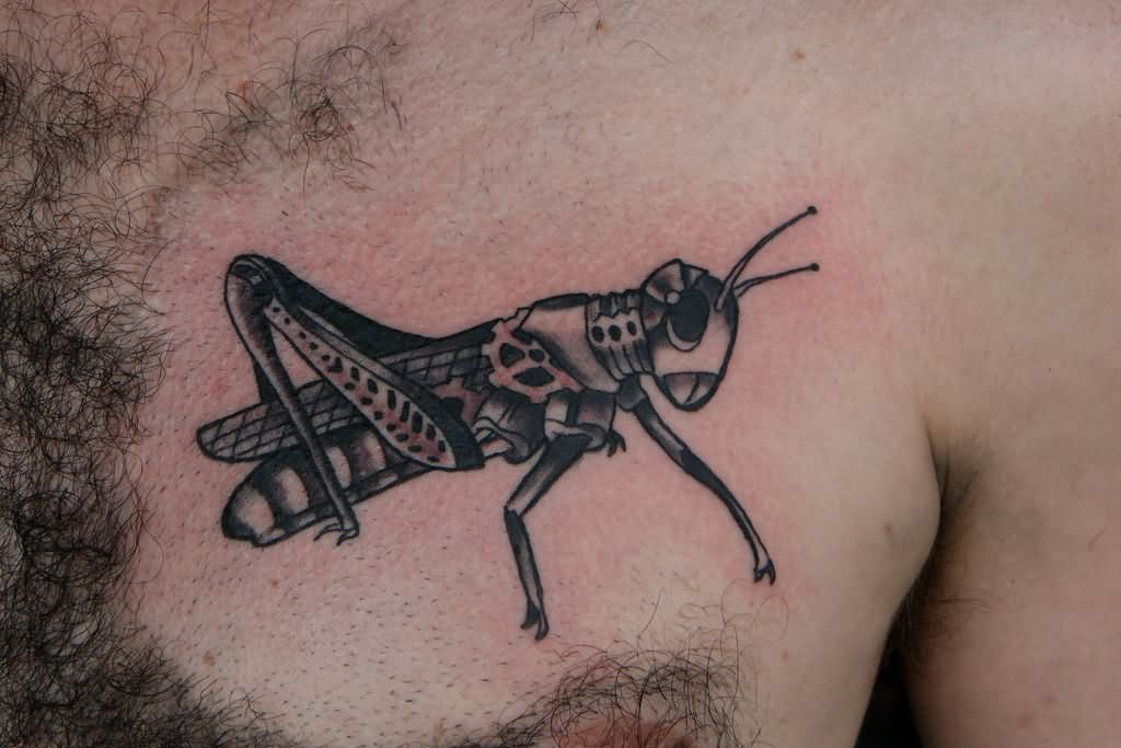Black Ink Grasshopper Tattoo On Man Left Chest