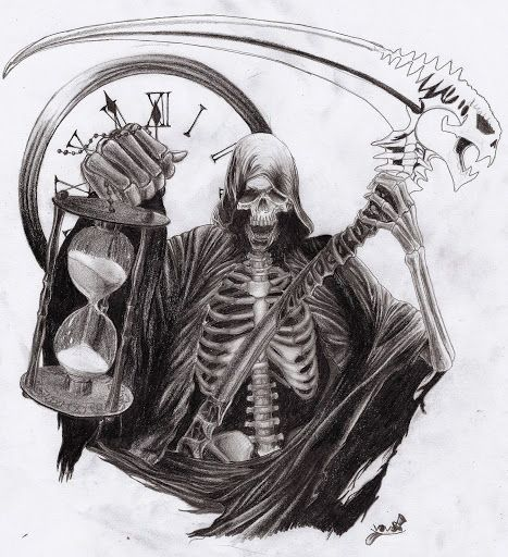 Black Ink Grim Reaper With Hourglass Tattoo Design