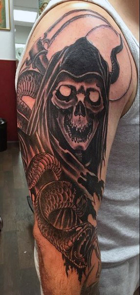 eb56e6a6b Black Ink Grim Reaper With Snake Tattoo On Man Right Half Sleeve