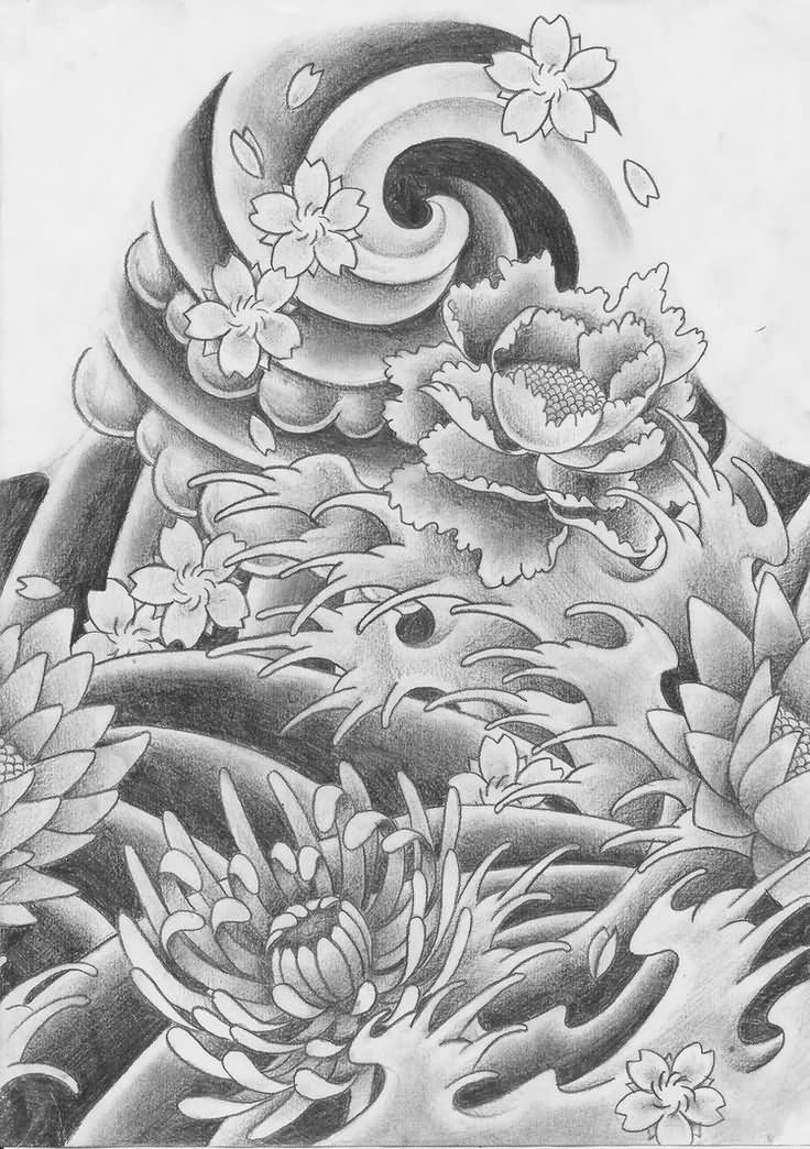 Black Ink Japanese Flower Tattoo Design