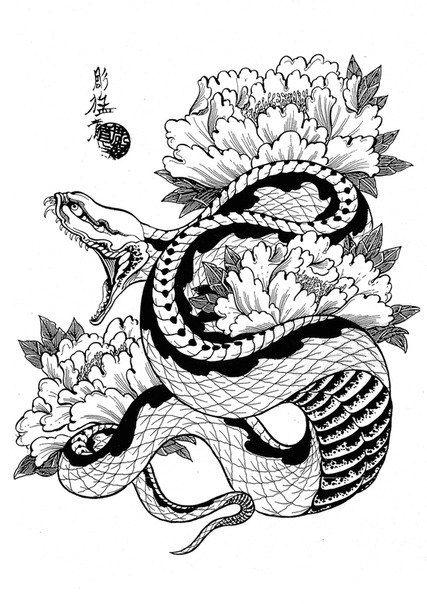 black ink japanese snake with flowers tattoo design. Black Bedroom Furniture Sets. Home Design Ideas