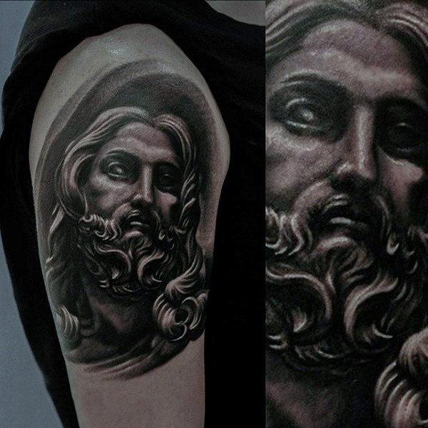 Black ink jesus head tattoo on right shoulder for Tattoos of black jesus