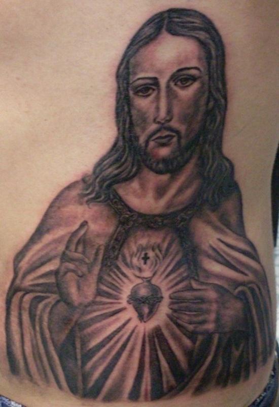 Black ink jesus tattoo design for side rib for Tattoos of black jesus