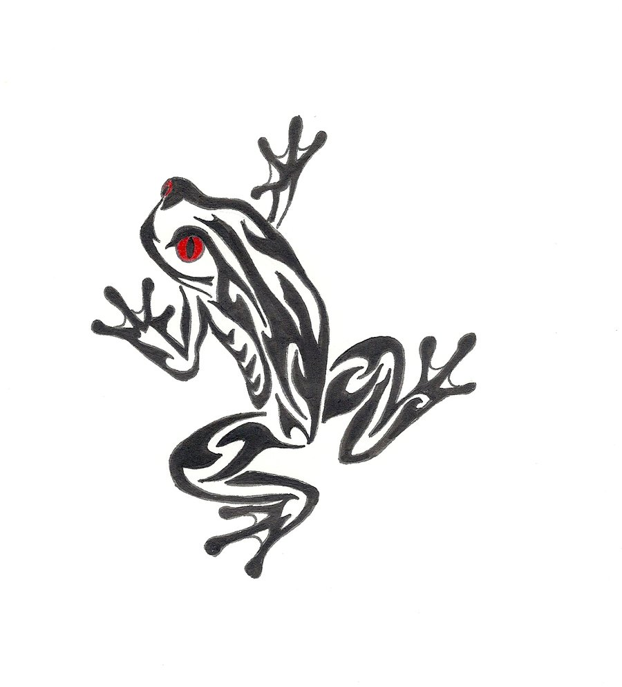 54 best frog tattoos design and ideas for Black tribal tattoo ink