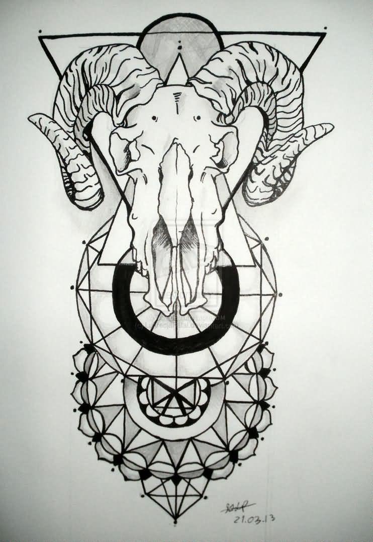 Black Outline Geometric Goat Skull Tattoo Design