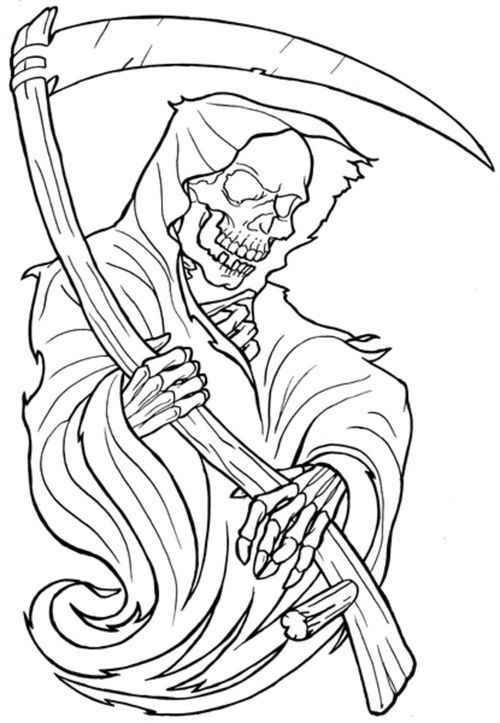 Black Outline Grim Reaper Tattoo Stencil Use code buy3get1free to get 1 free stencil or brush for every 3 you purchase! black outline grim reaper tattoo stencil