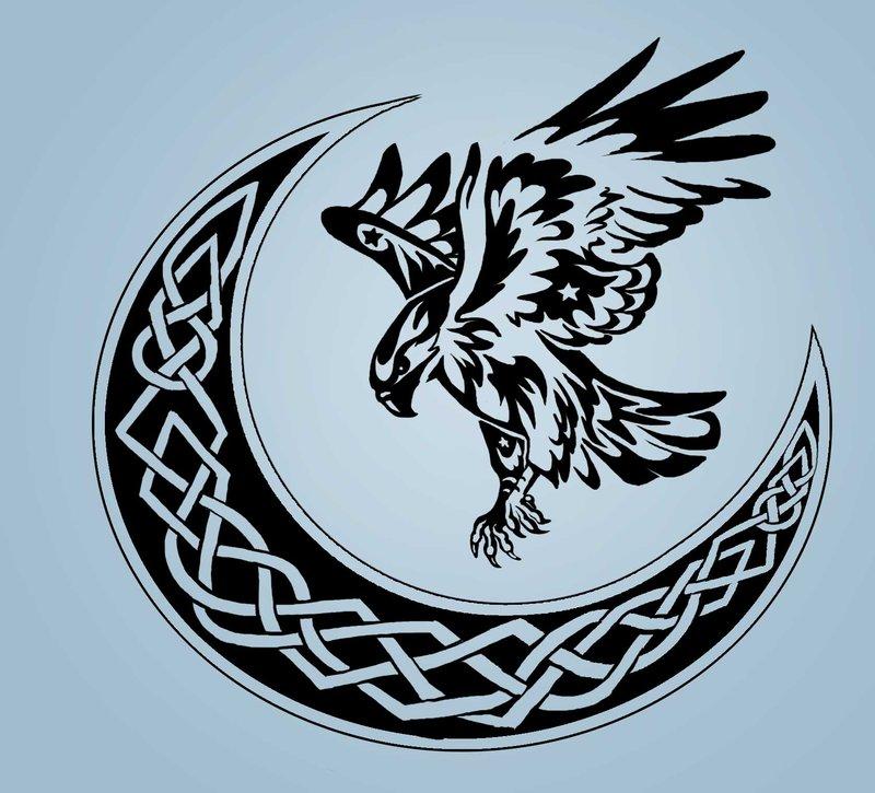 4e3355bd7ea27 Black Tribal Flying Hawk With Celtic Half Moon Tattoo Design