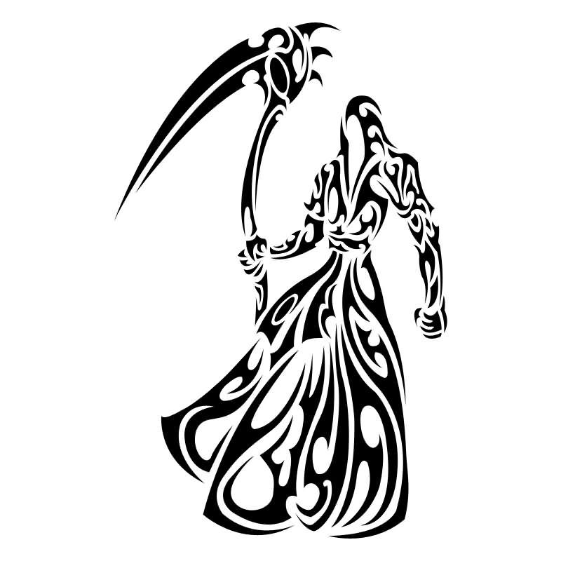 black tribal grim reaper tattoo stencil rh askideas com Grim Reaper Tattoo Drawings Best Grim Reaper Tattoos