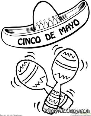 Cinco De Mayo Hat Maracas Coloring Page