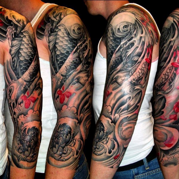 52 best japanese tattoos design and ideas for Koi fish black and grey