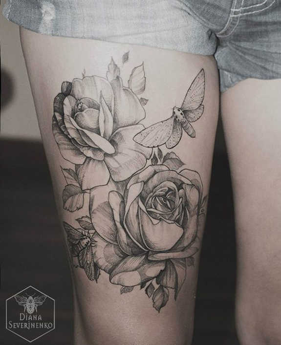 Classic Black And Grey Roses With Butterflies Tattoo On Right Thigh