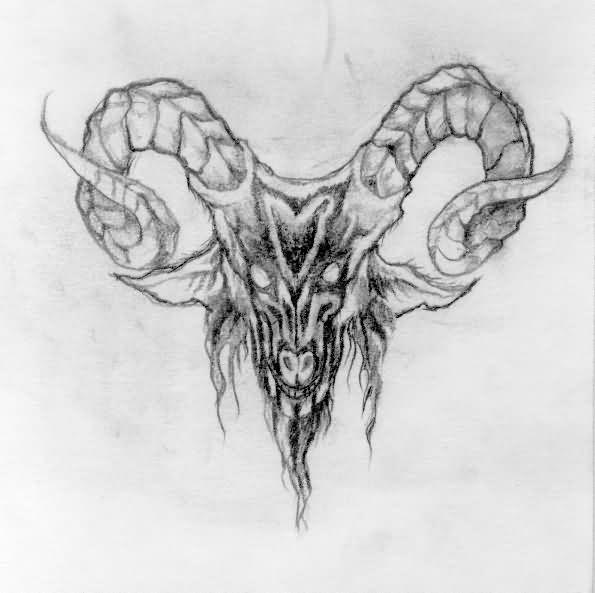 Goat Skull Tattoo Design