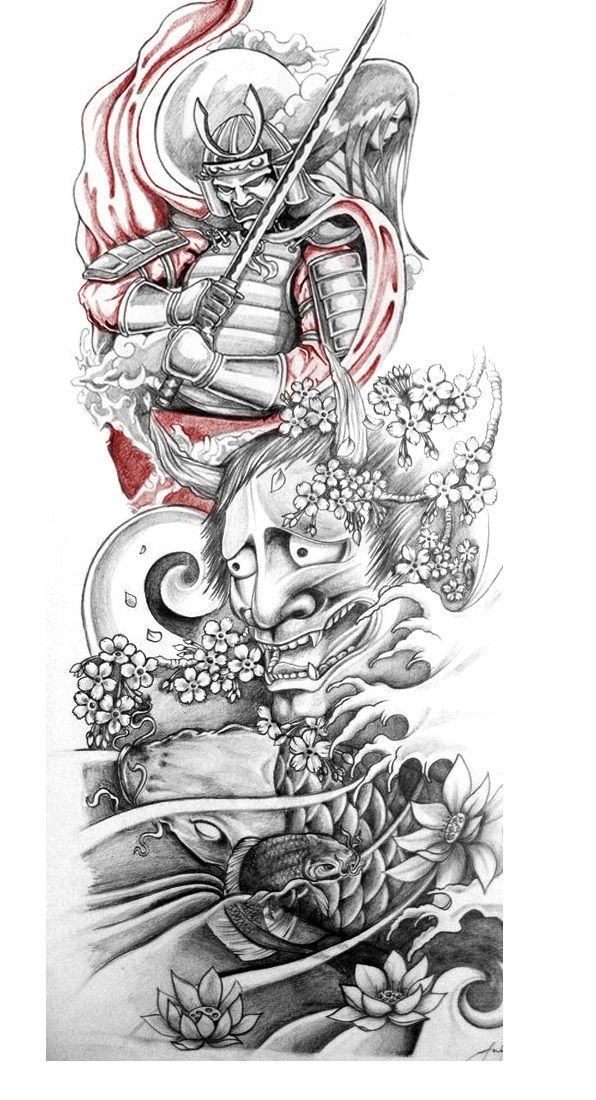 Classic Grey Ink Japanese Warrior With Hannya Tattoo Design