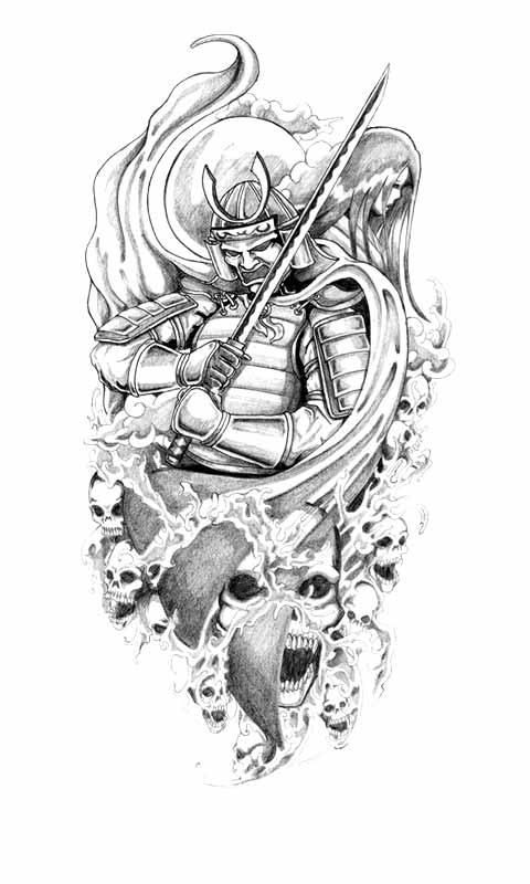Classic Grey Ink Japanese Warrior With Skull Tattoo Design