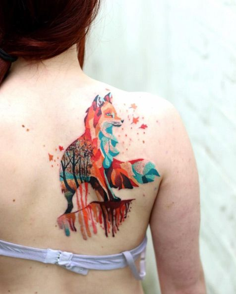 Colorful Geometric Fox Tattoo On Girl Right Back Shoulder