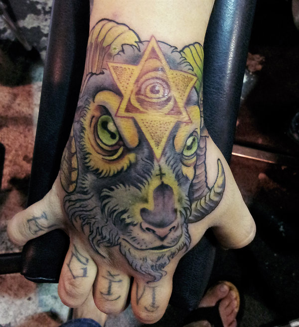 Colorful Goat Head Tattoo On Right Hand
