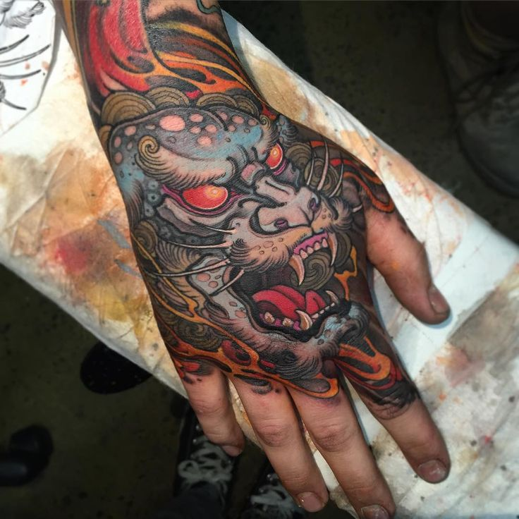 Colorful Japanese Dragon Head Tattoo On Right Hand