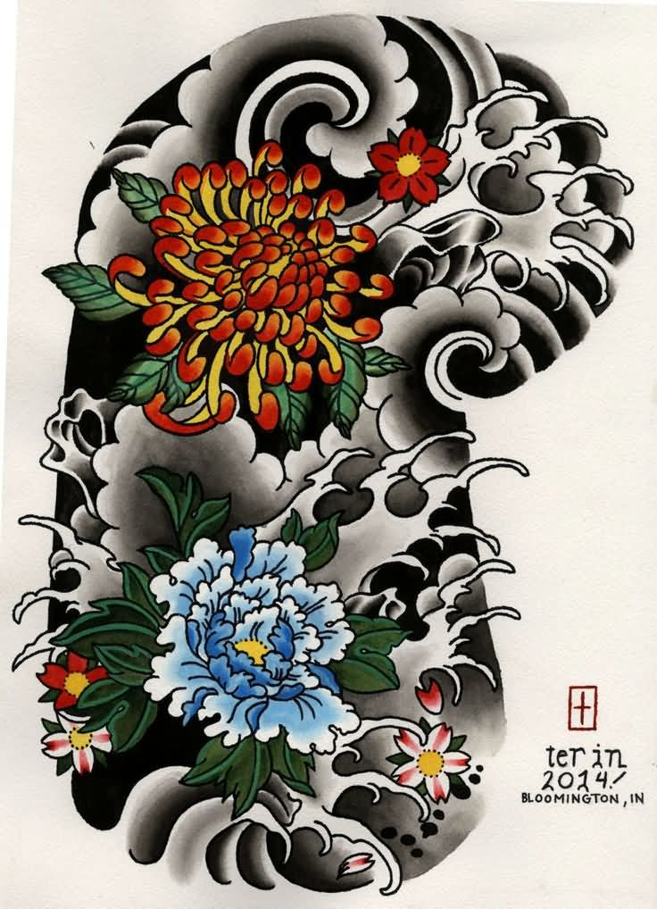 Colorful Japanese Flowers Tattoo For Sleeve