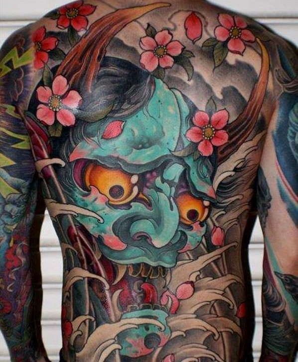 ffe16aaad Colorful Japanese Hannya Head With Flowers Tattoo On Man Full Back