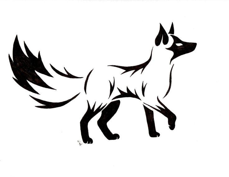 Cool black tribal fox tattoo stencil for Cool fox drawings