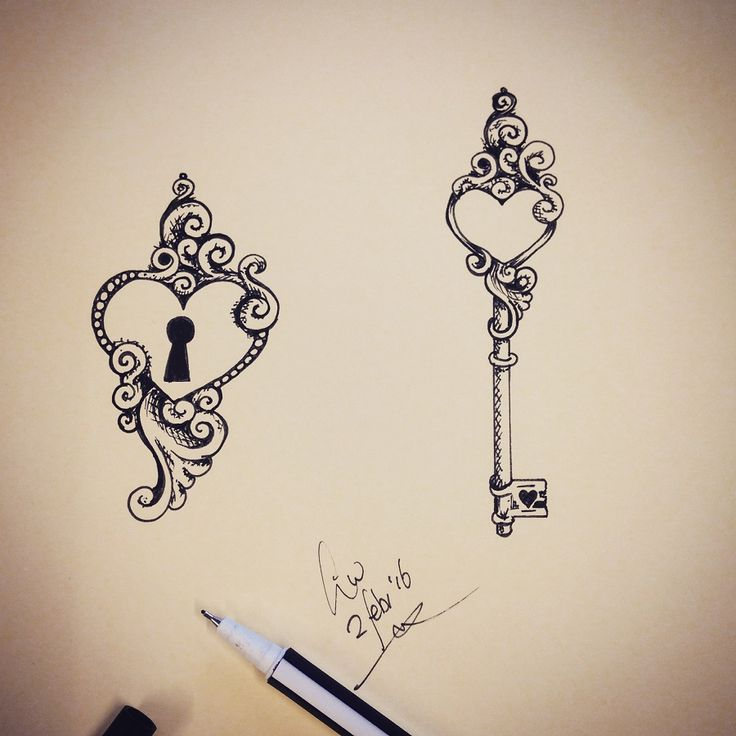 Heart key tattoo outline images for Lock and key decor