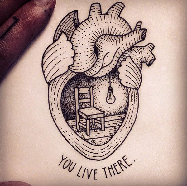 32 Best Heart Tattoos Images On Pinterest: Dotwork Real Heart Tattoo Design