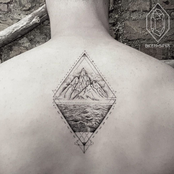 Geometric Mountains In Triangle Tattoo On Man Upper Back