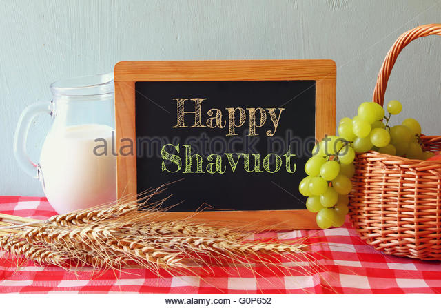 Happy Shavuot Black Board With Milk, Wheat And Grapes Picture