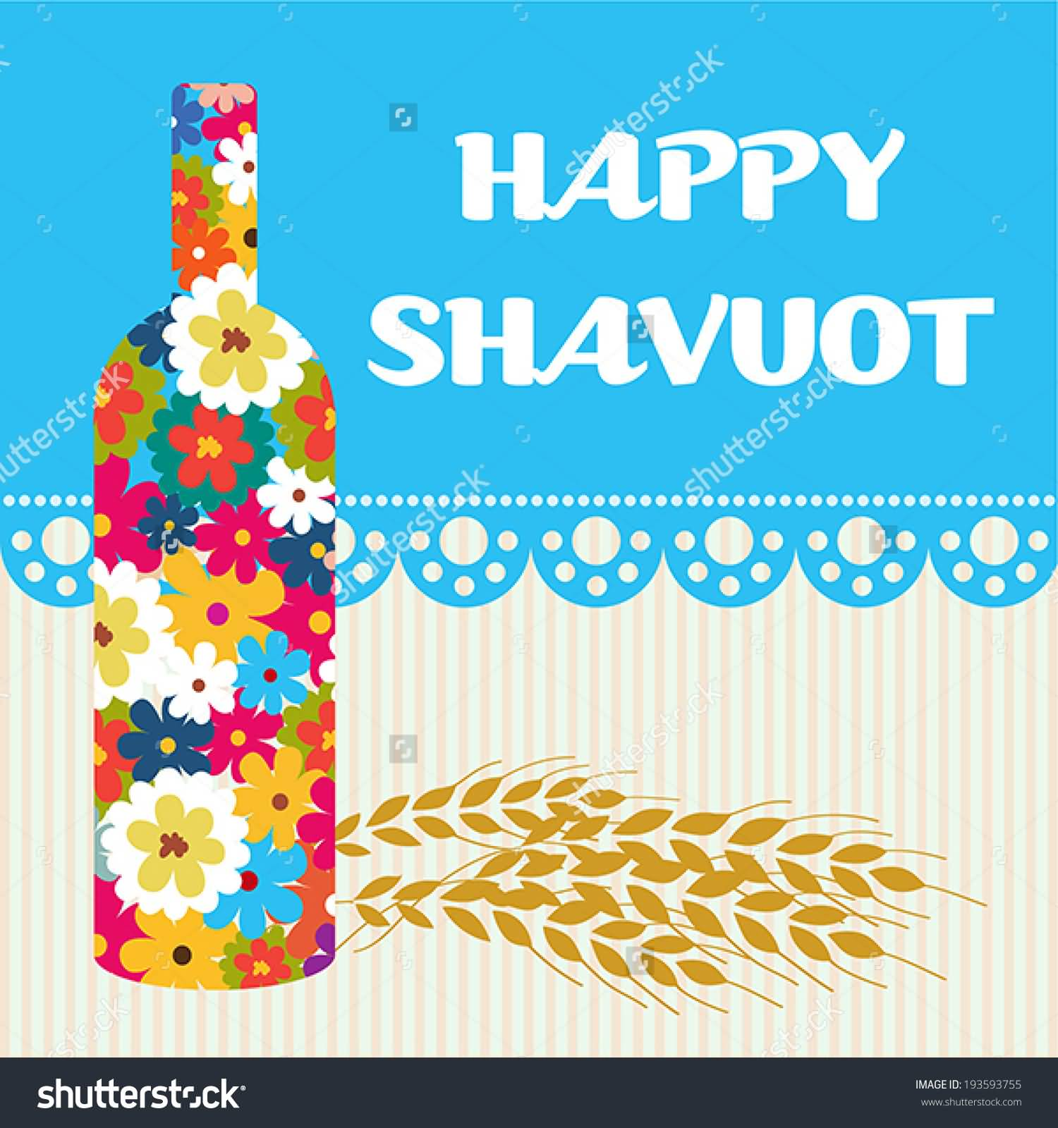 Happy Shavuot Colorful Flowers Bottle And Wheat Crop Illustration