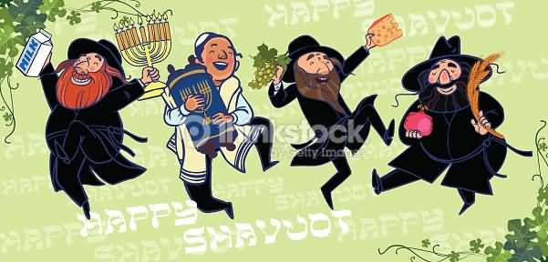 Happy Shavuot Dancing Jewish People