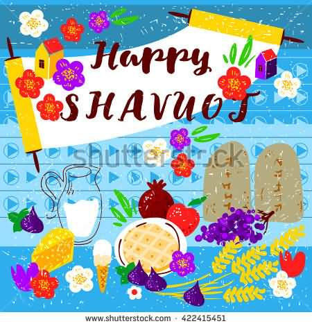 Happy Shavuot  Milk, Wheat, Fruits Illustration