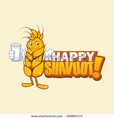 Happy Shavuot Wheat Crop Holding Milk Illustration