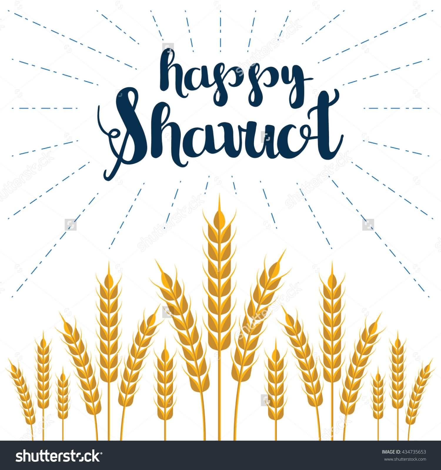 Happy Shavuot Wheat Illustration Card