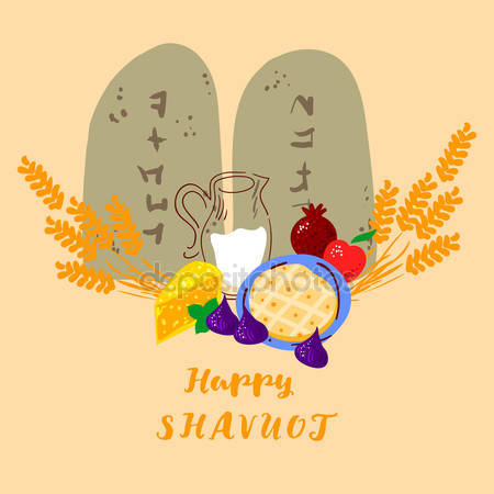 Happy Shavuot Wheat Milk And Fruits Illustration