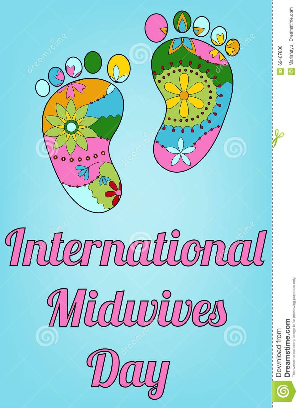 International Midwives Day Colorful Baby Feet Illustration