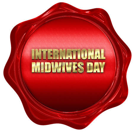 International Midwives Day Red Wax Seal Illustration