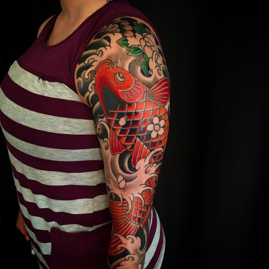 Japanese koi half sleeve tattoos for Japanese koi