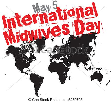 May 5 International Midwives Day World Map Vector Illustration