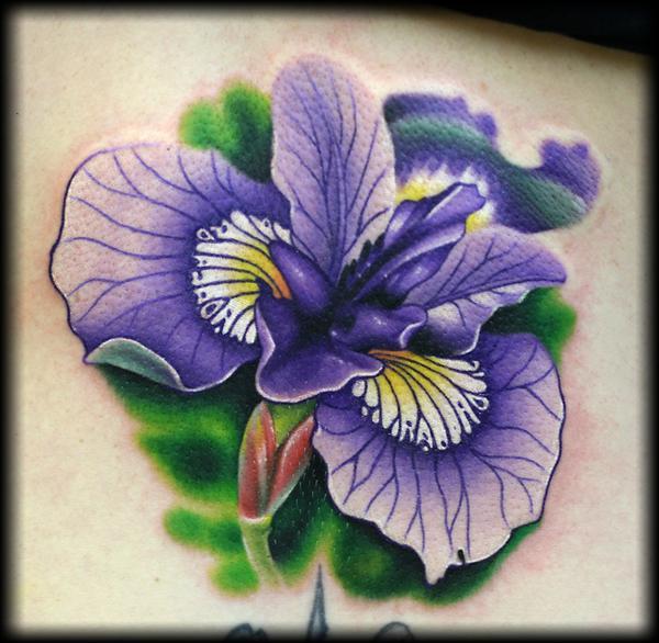 purple ink iris tattoo design. Black Bedroom Furniture Sets. Home Design Ideas