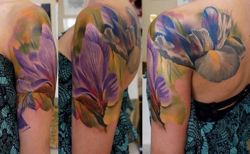 Realistic Iris Flower Tattoo On Left Back Shoulder