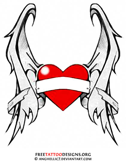 red heart with wings tattoo design