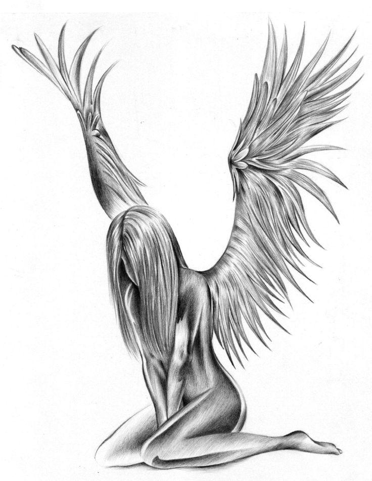 Sad Fallen Angel Tattoo Design