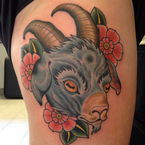 Traditional Goat Head With Flowers Tattoo On Right Thigh